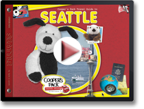 Demo showing Cooper's Pack Seattle Kids Travel Guide with Cooper and Elliott the Otter