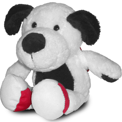 Cooper plush dog with removable pack